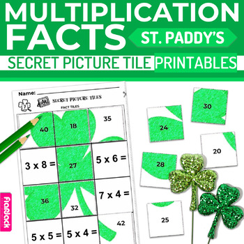 St. Patrick's Day MULTIPLICATION FACTS Paperless + Printable Secret Picture SET