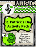 St. Patrick's Day MUSIC activities: instrument word search, color by note & more