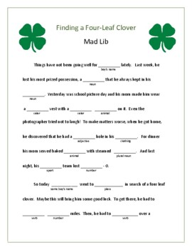 St. Patrick's Day Mad Lib