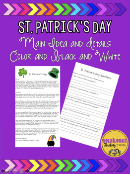 St. Patrick's Day Main Idea and Details Passage