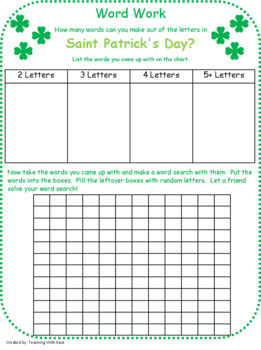 Making Words: Word Work for St. Patrick's Day