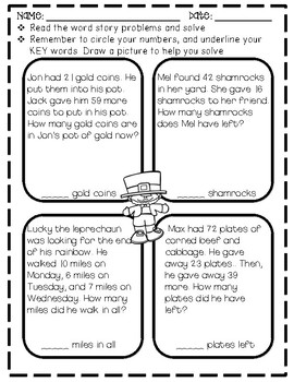 St. Patrick's Day Activity Pack No Prep ~ Aligned with the 2nd grade CCCS