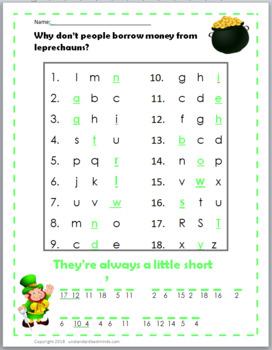 St. Patrick's Day / March - Alphabet Missing Letter - Riddles & Jokes