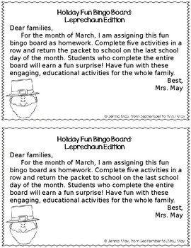 St. Patrick's Day, March Homework Bingo Board: Leprechaun Edition
