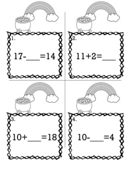 St. Patrick's Day March Kindergarten {Scoot Game/Task Cards} Math Bundle