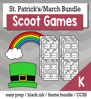 St. Patrick's Day March Kindergarten {Scoot Game/Task Cards} Math Bundle