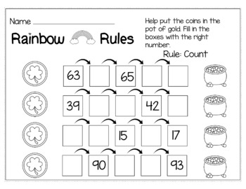 St. Patrick's Day March Math for Kindergarten - NO PREP Packet
