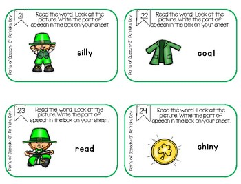 Parts of Speech Task Cards, Scoot for 1st, 2nd, 3rd, St. Patrick's Day Themed