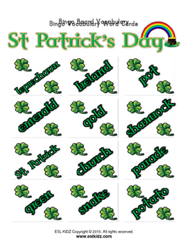 St. Patrick's Day Matching Bingo Game