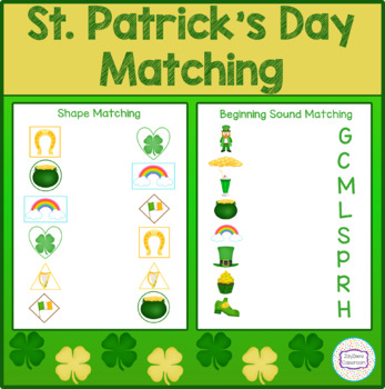 St. Patrick's Day Matching Colors/Shapes and Beginning Sound