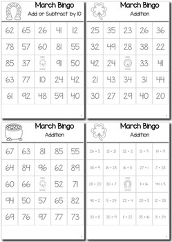 St. Patrick's Day Math 1st Grade BINGO Game Bundle