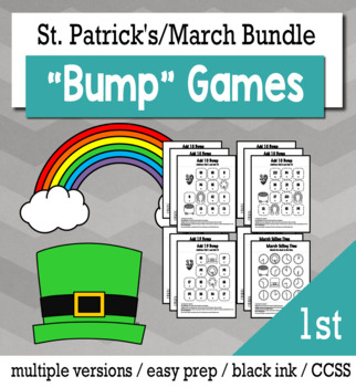 St. Patrick's Day Math 1st Grade+ Bump Games Bundle