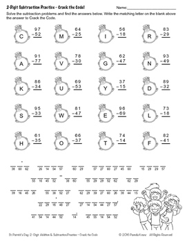 St. Patrick's Day Math Practice: 2-Digit Addition & Subtraction - Crack the Code