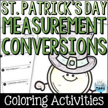 St. Patrick's Day Math: Measurement Conversions Color by Number