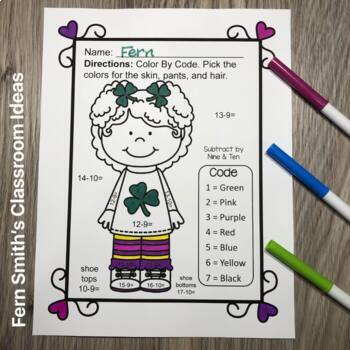 Color By Numbers St. Patrick's Day Math Addition and Subtraction