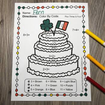 Color By Numbers St. Patrick's Day Addition Subtraction Multiplication Division