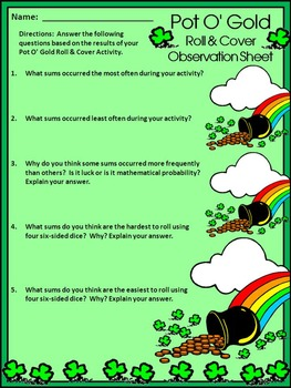 St. Patrick's Day Activities: Pot of Gold Roll & Cover Math Activity