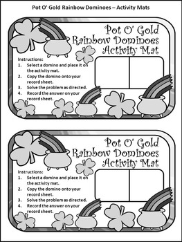 St. Patrick's Day Math Activities: Pot of Gold Dominoes Math Game Activity