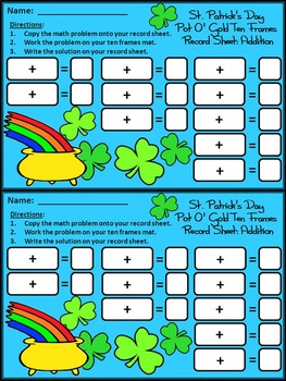 St. Patrick's Day Activities: Pot of Gold St. Patrick's Day Ten Frames