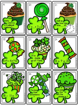 St Patrick's Day 1st grade Math Task Cards