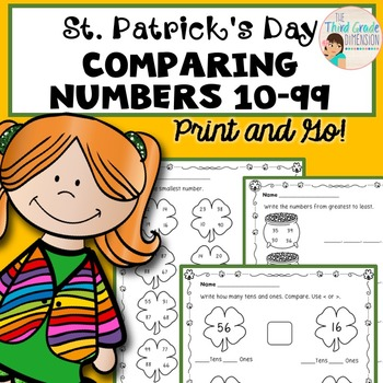 St. Patrick's Day Math Comparing 2 Digit Numbers