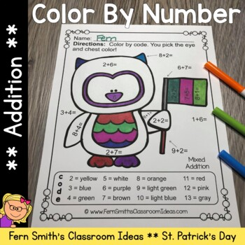 Color By Numbers St. Patrick's Day Math Addition