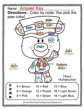 Color By Numbers St. Patrick's Day Math Multiplication