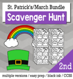 St. Patrick's Day Math 2nd Grade Scavenger Hunt Game Bundle