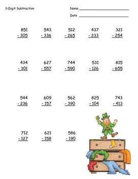 St. Patrick's Day Math ~ 3-Digit Subtraction