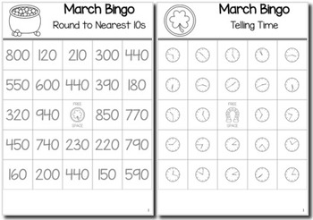 St. Patrick's Day Math 3rd Grade BINGO Game Bundle