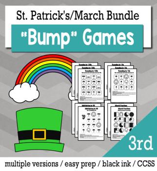 St. Patrick's Day Math 3rd Grade+ Bump Games Bundle