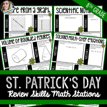 8th Grade Math Review : Middle School Math Stations