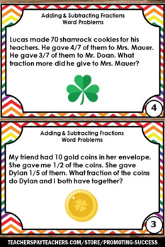 St. Patrick's Day Math Activities, Fraction Word Problems for 4th, 5th Grade