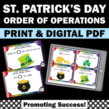 St  Patrick's Day Math Activities, 5th Grade Order of Operations Task Cards
