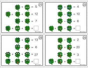 St. Patrick's Day Math Activities   Shamrock Addition & Subtraction Task Cards