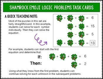 St. Patrick's Day Math Activities | Shamrock Addition & Subtraction Task Cards