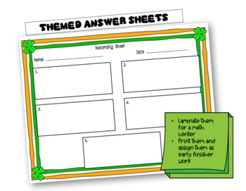 St. Patrick's Day Math Activities: Word Problems