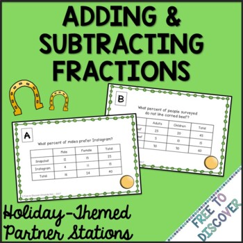 St. Patrick's Day Math Activity - Adding and Subtracting Fractions