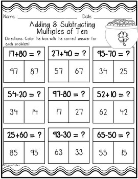 St. Patrick's Day Math: Add/Subtract Tens {{FREEBIE}}