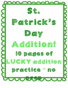 St. Patrick's Day Math Addition Number sense - NO PREP