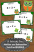 Addition and Subtraction Task Cards St. Patrick's Day Math Activities