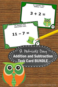 St. Patrick's Day Math Kindergarten Addition and Subtraction Task Cards