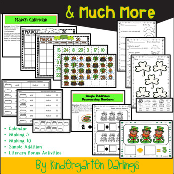 St. Patrick's Day Math Center Activities: Simple Addition, Numbers 1-20 & More