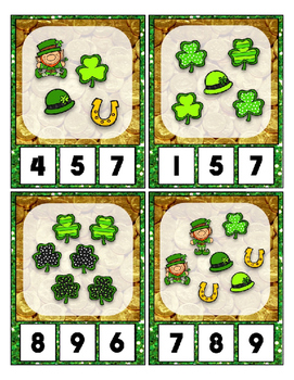 St. Patrick's Day Math Center Counting Objects to 20 Clip Cards for Preschool