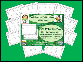 St. Patrick's Day Math Centers Add and Subtract to 1,000 to Find Mystery Word
