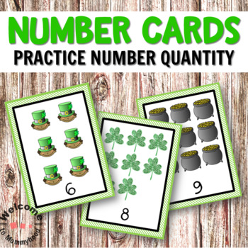 St Patrick's Day Math Centers - Montessori Number Cards 0 to 50