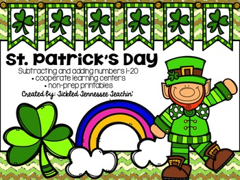 St. Patrick's Day Math Centers and Printables - Subtracting and Adding Numbers
