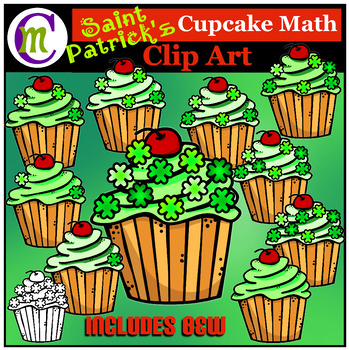 St. Patrick's Day Math Clip Art: Cupcake Counting Clipart