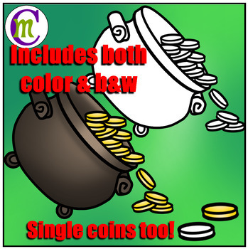 St. Patrick's Day Math Clip Art: Pot of Gold Counting Clipart