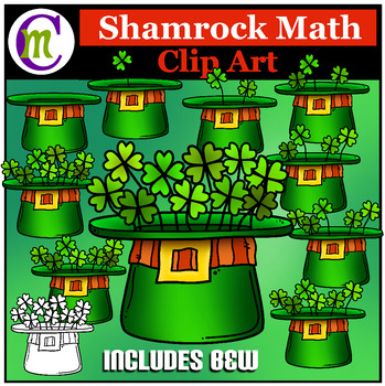 St. Patrick's Day Math Clip Art  Shamrock Hat Counting Clipart